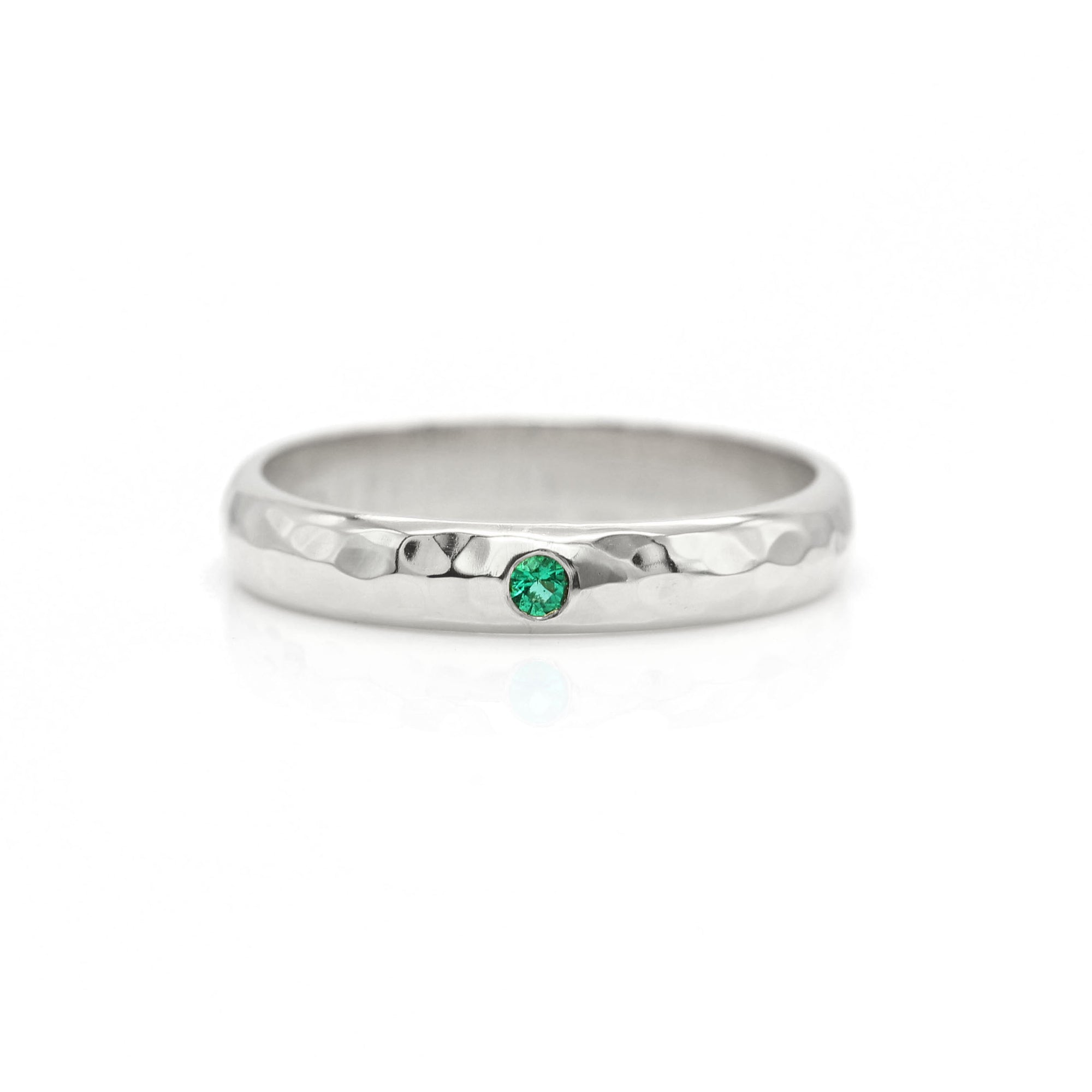 Emerald Hammered Ring Band - Palladium White Gold