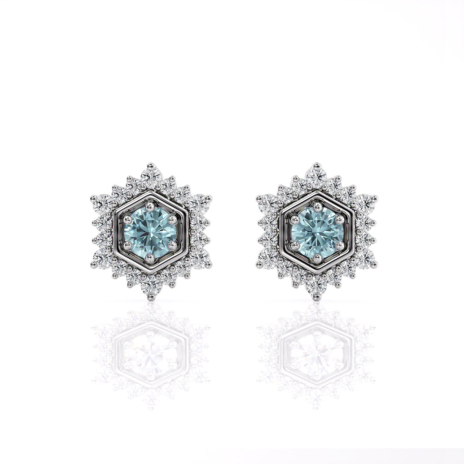 Camellia | Aquamarine Hexagon Post Earrings