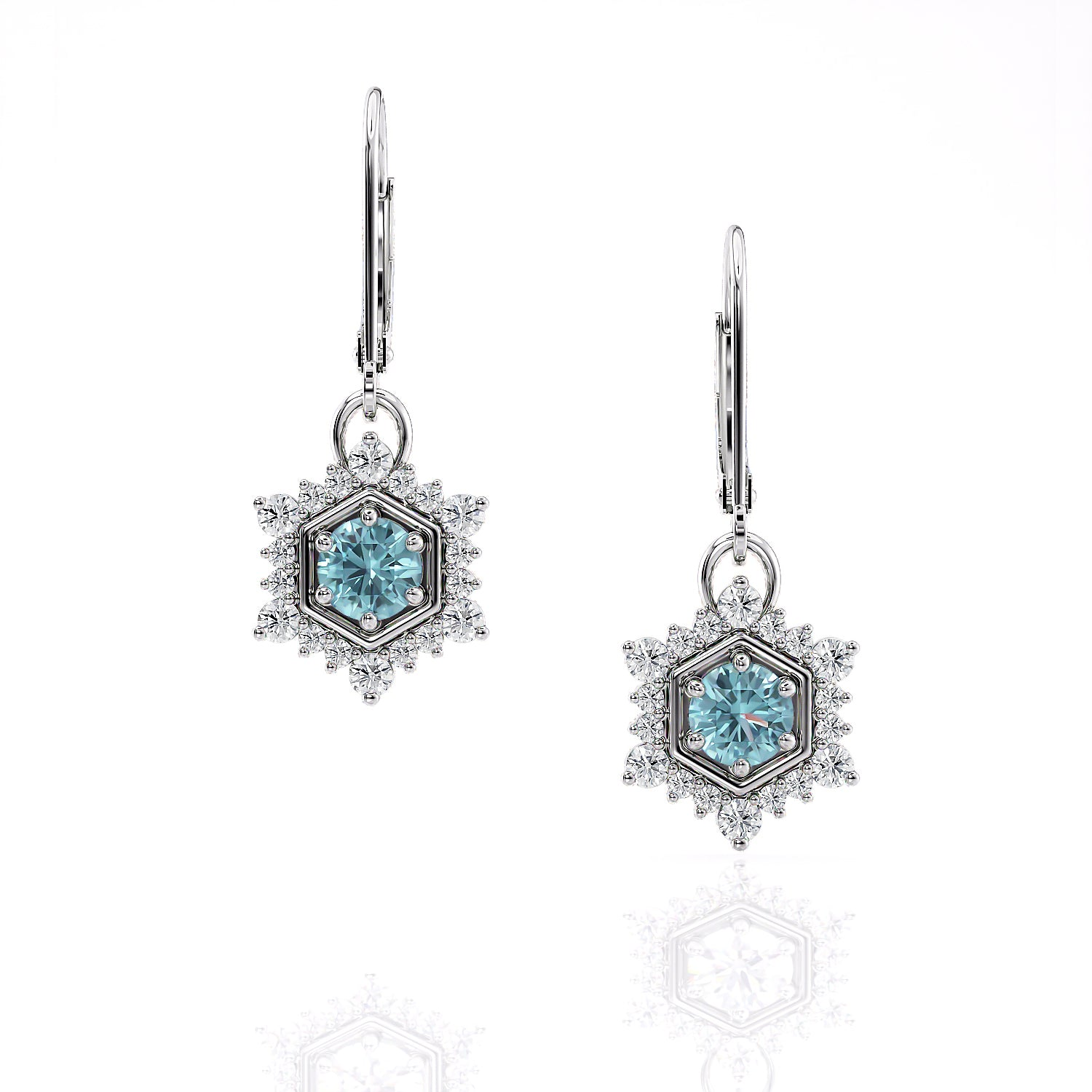 Camellia | Aquamarine Hexagon Single Drop Earrings