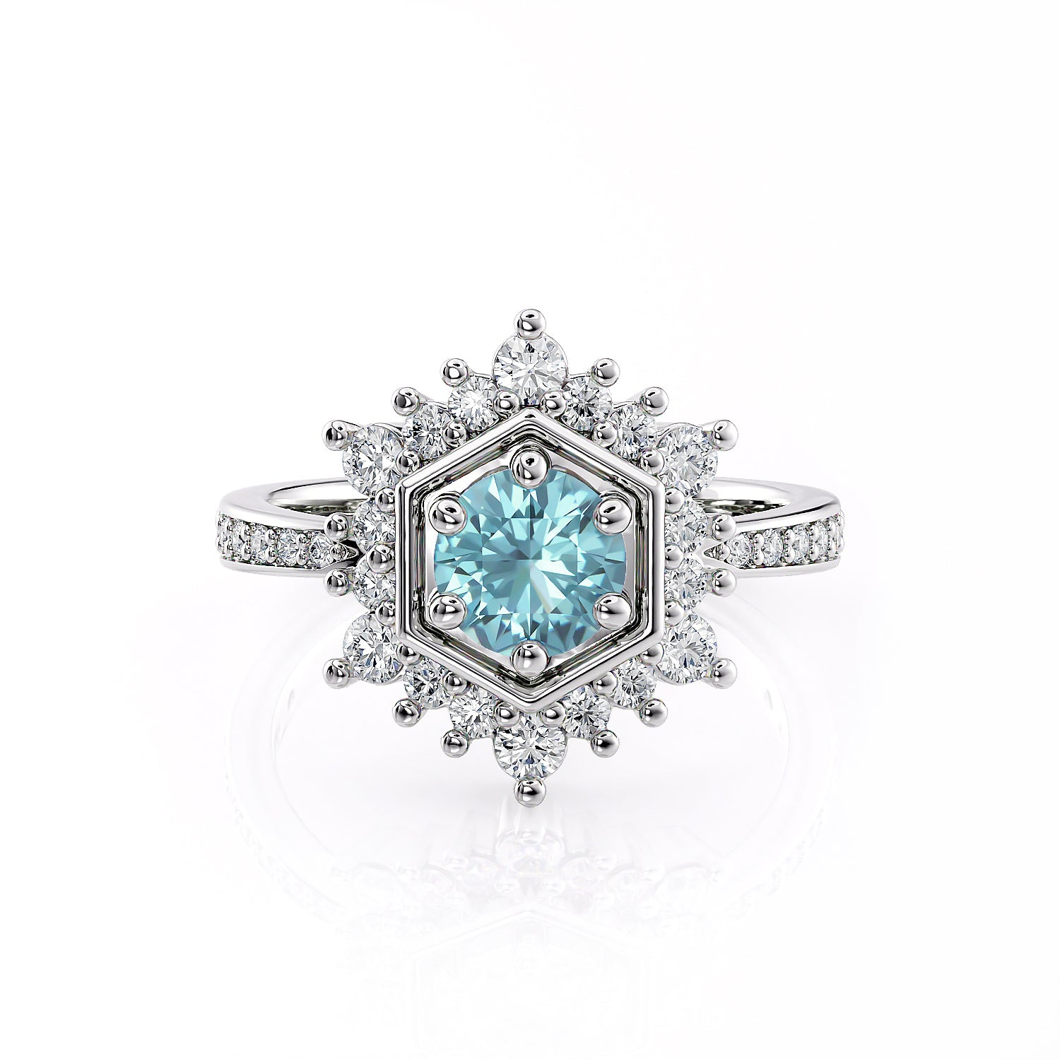 Camellia | Aquamarine Hexagon Halo Engagement Ring