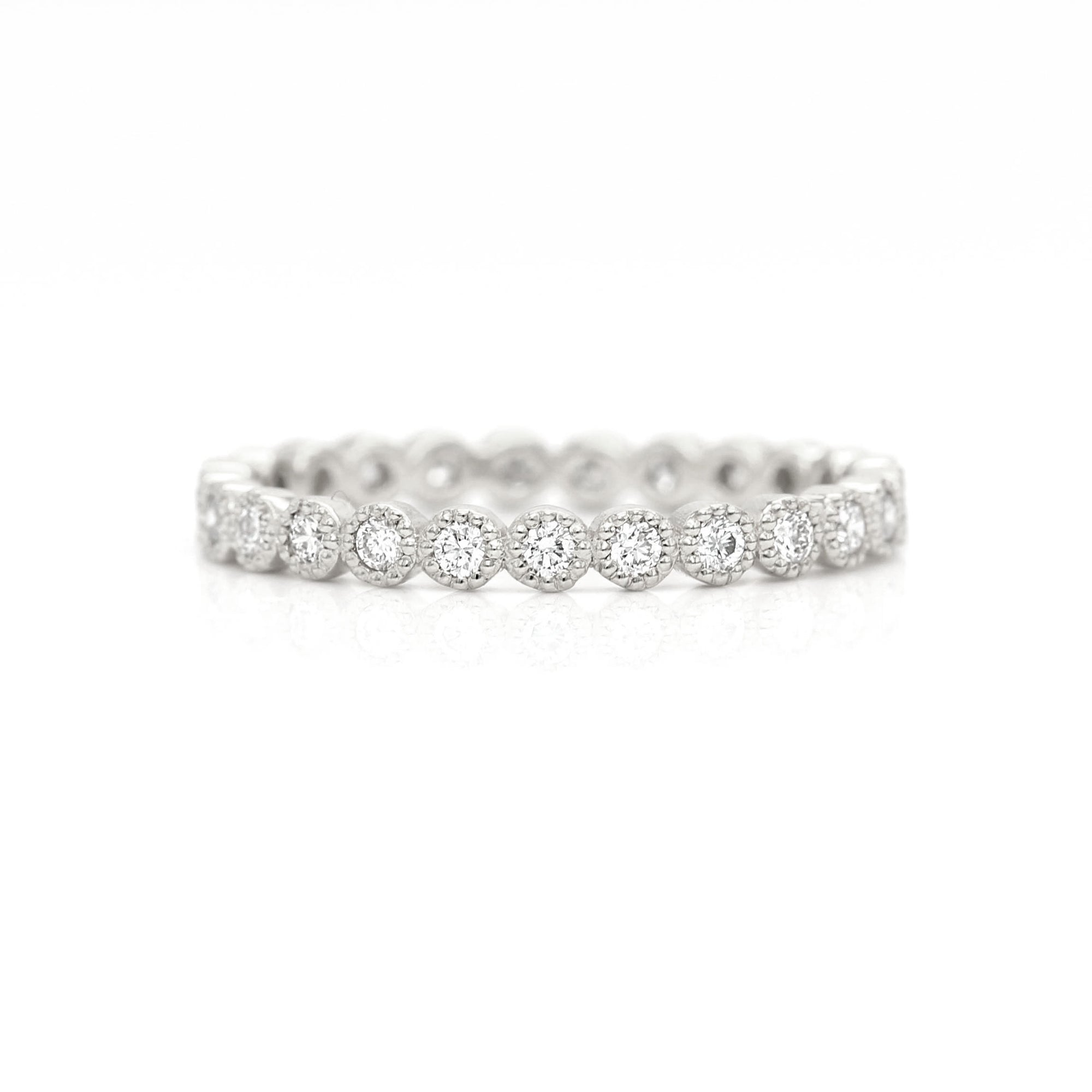 Milgrain Diamond Eternity Ring Band | Palladium White Gold