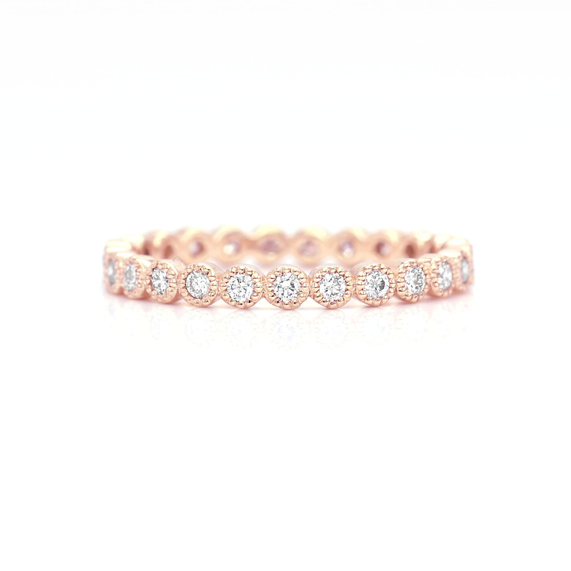 Milgrain Diamond Eternity Ring Band | Rose Gold