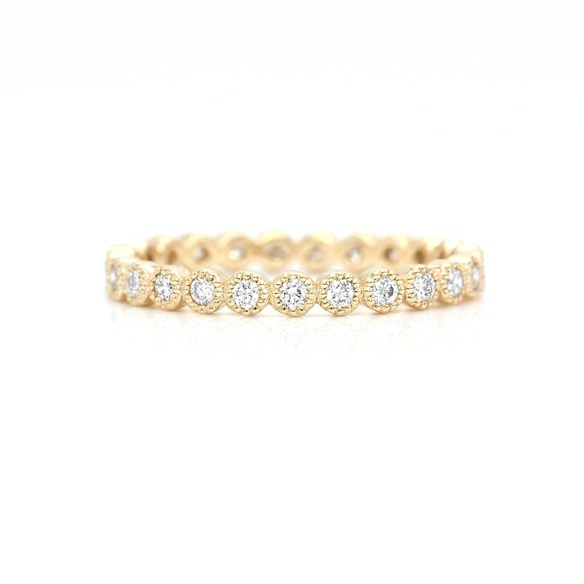 Milgrain Diamond Eternity Ring Band | Yellow Gold