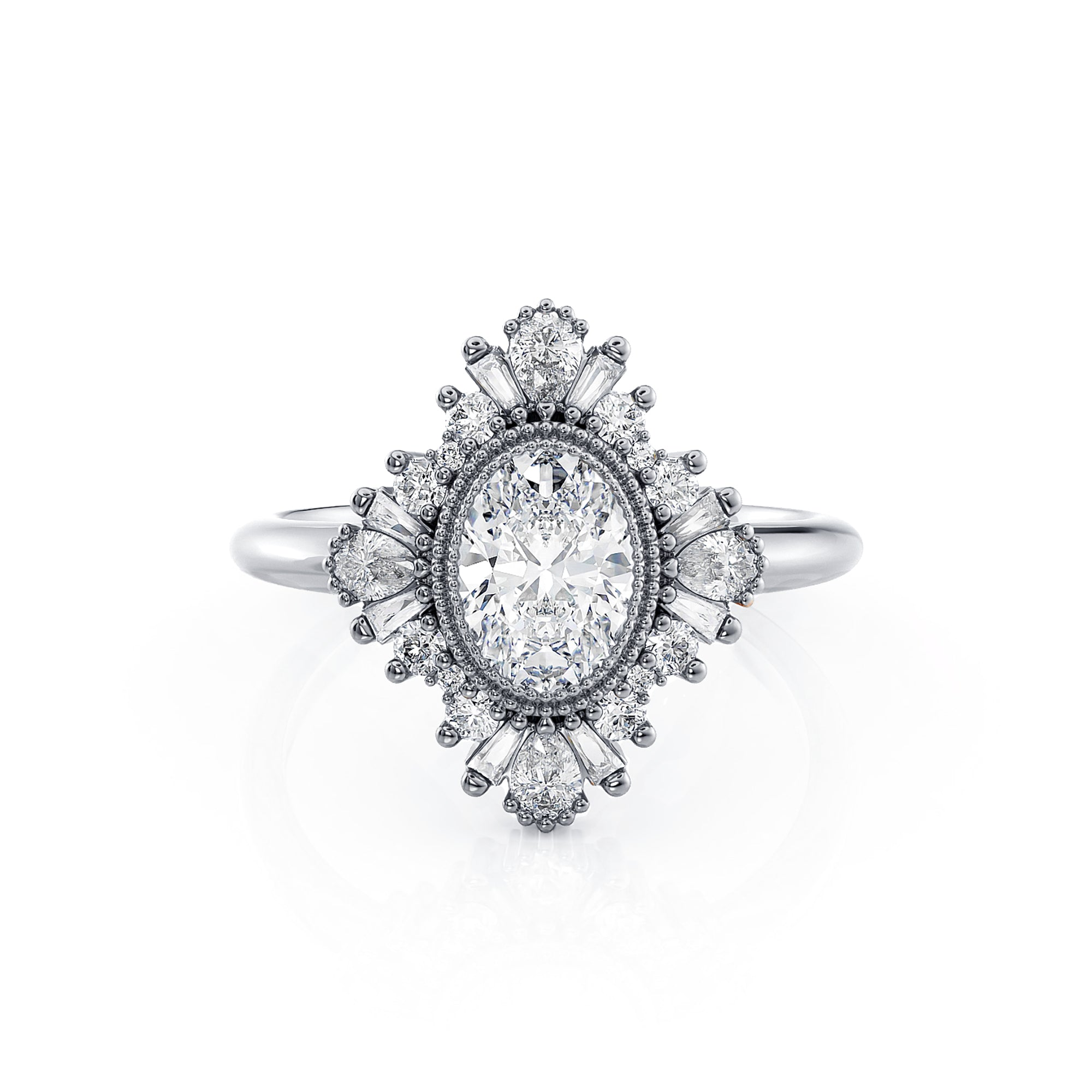 Victoria | Oval Diamond Art Deco Ballerina Ring | Palladium White Gold - Platinum