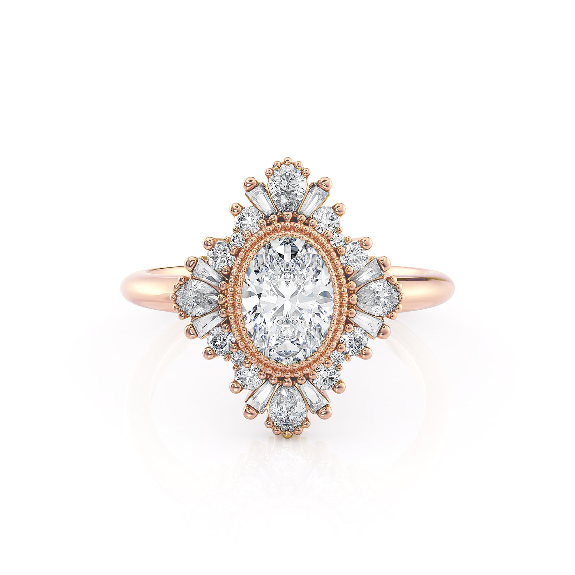 Victoria | Oval Diamond Art Deco Ballerina Ring | Rose Gold