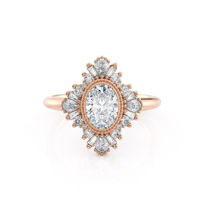 Victoria | Oval Diamond Milgrain Bezel Ring | Rose Gold