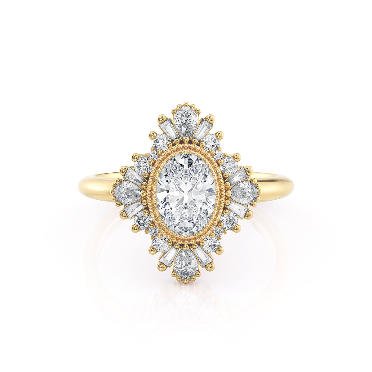 Victoria | Oval Diamond Art Deco Ballerina Ring | Yellow Gold