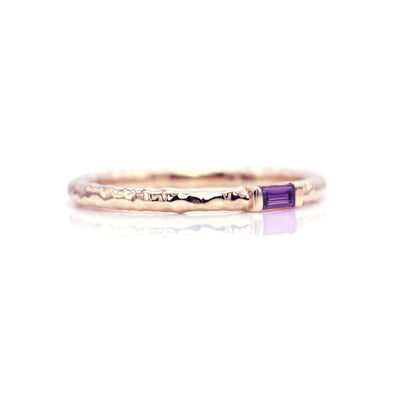 Classic Baguette Stacking Ring with Hammer Textured Band | Rose Gold