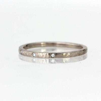 Three Stone Diamond Hammer Textured Band-Alysha Whitfield
