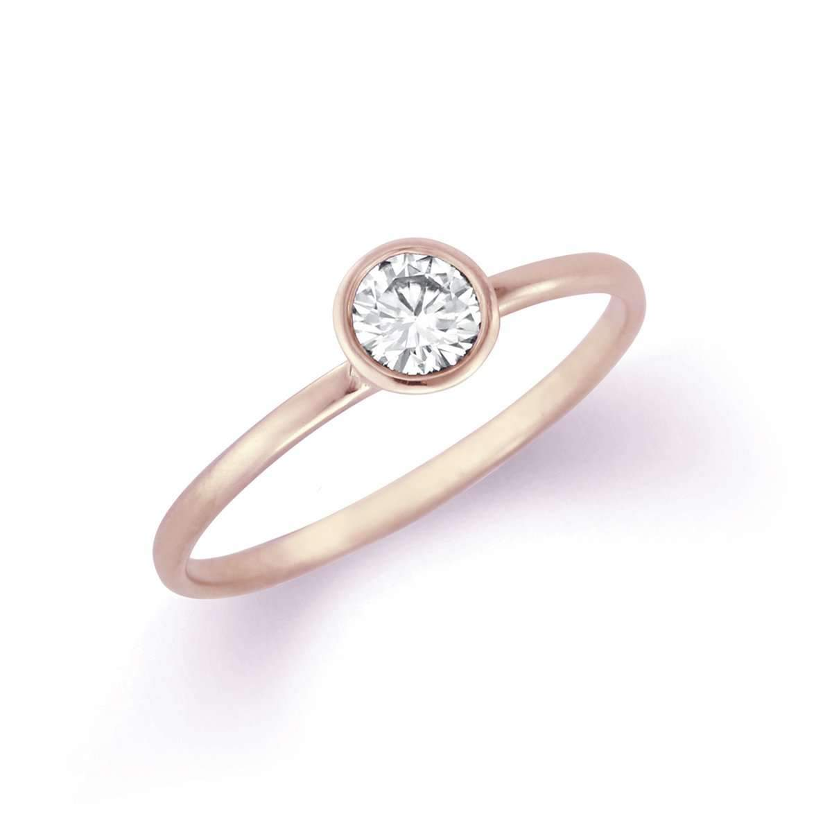 Petite Classic Bezel Solitaire Ring with Diamond or Moissanite-Alysha Whitfield