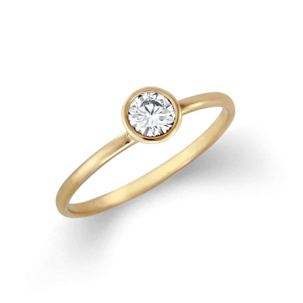 Petite Classic Bezel Solitaire Ring with Diamond or Moissanite