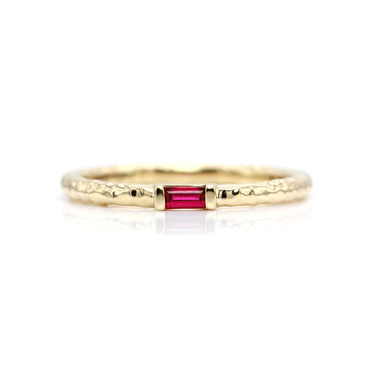 Classic Baguette Stacking Ring with Hammer Textured Band | Yellow Gold