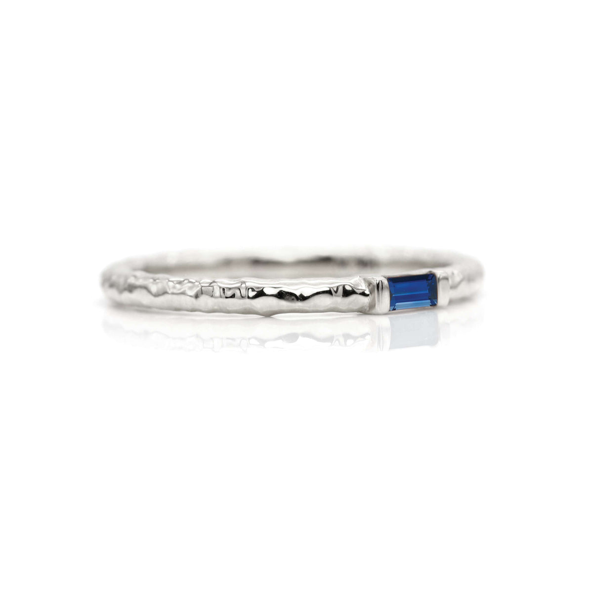Classic Baguette Stacking Ring with Hammer Textured Band | Palladium White Gold