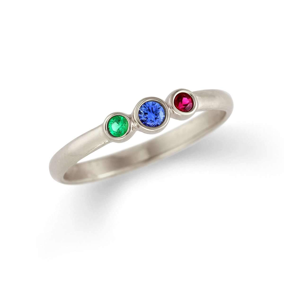 Traditonal Three Stone Mother's Ring with Natural Birthstones-Alysha Whitfield