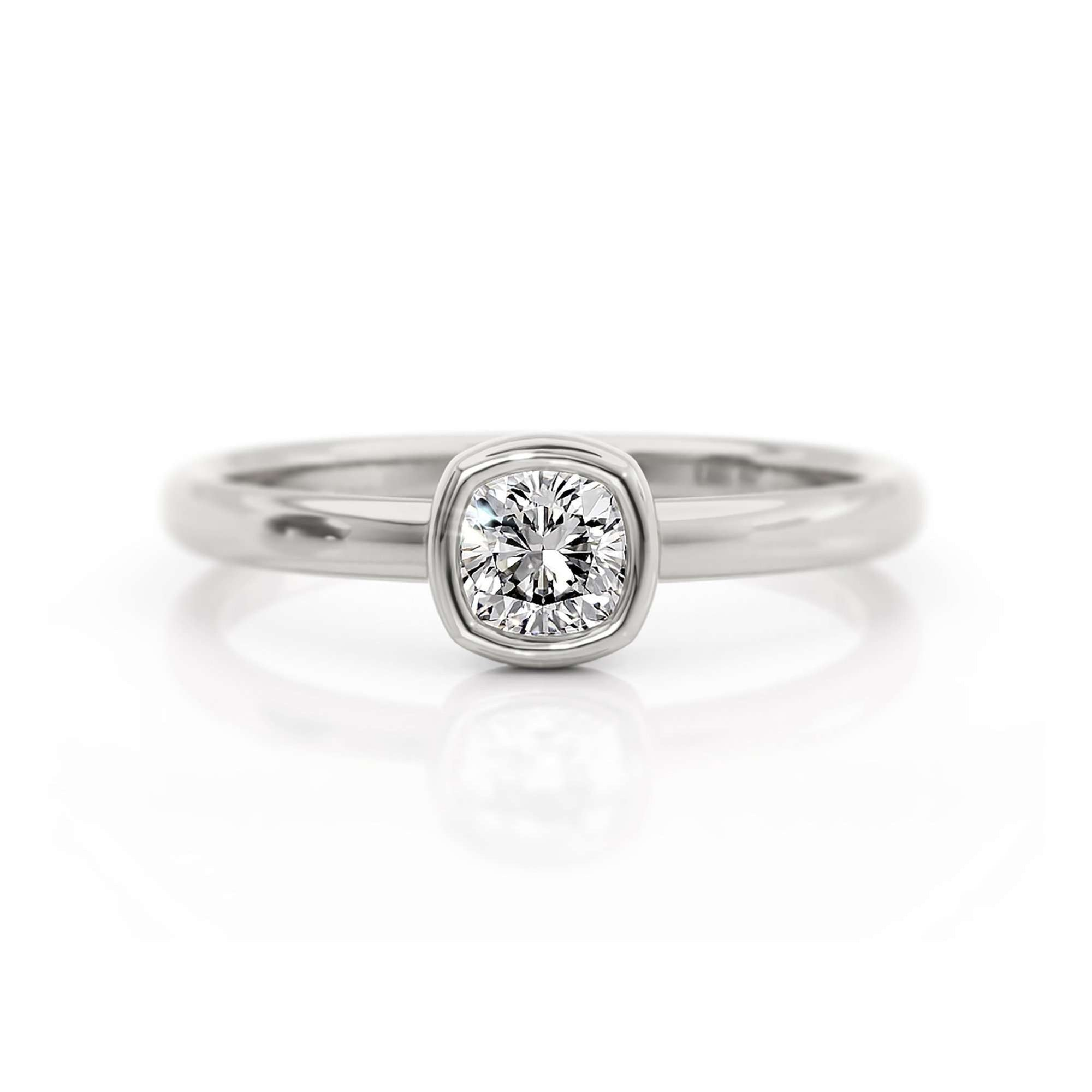 Classic Bezel Cushion | Diamond or Moissanite Solitaire Ring-Alysha Whitfield