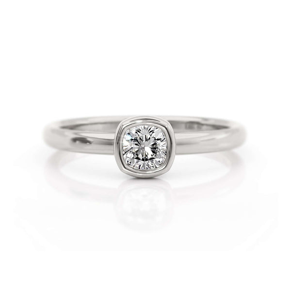 Classic Bezel Cushion | Diamond or Moissanite Solitaire Ring