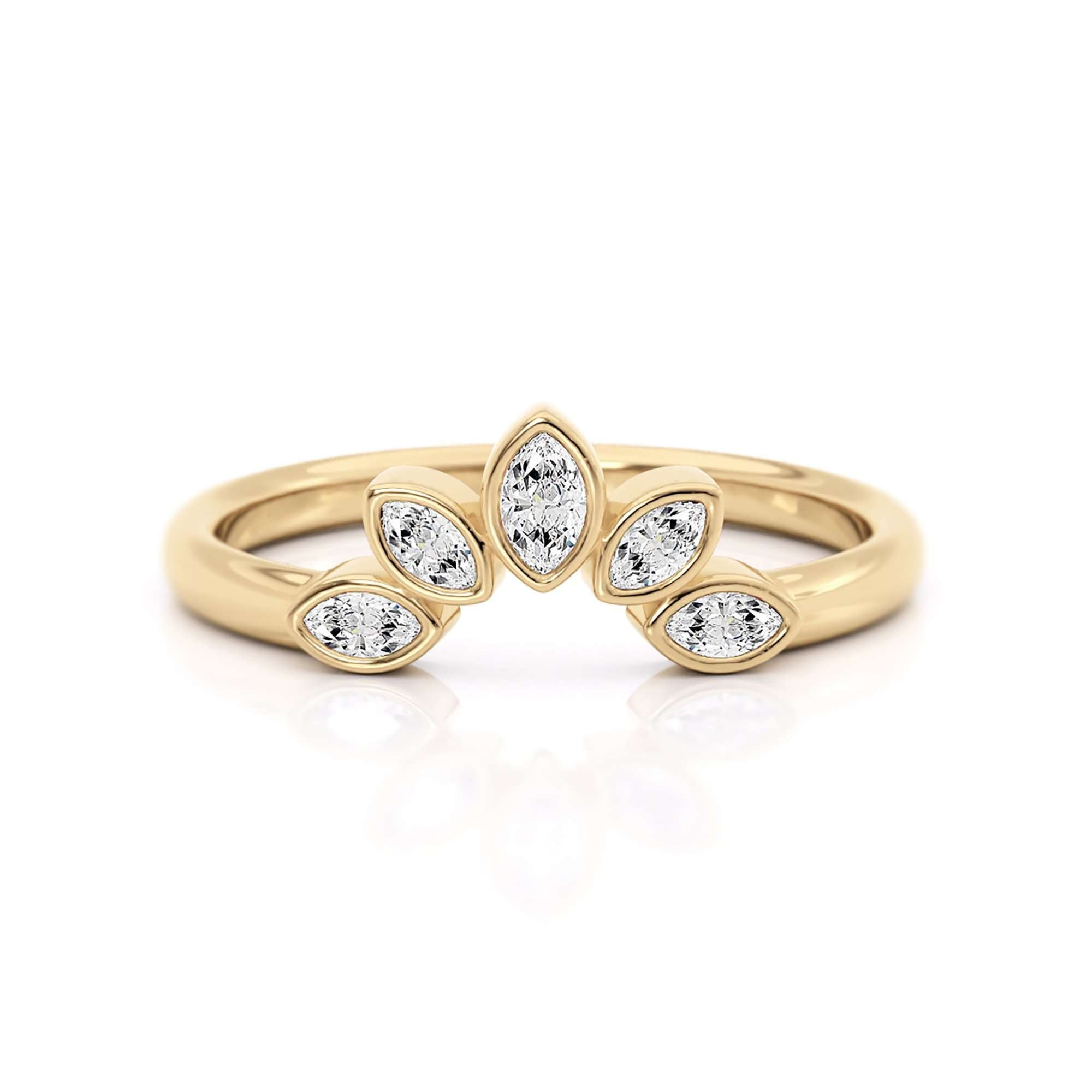 Classic Bezel Nesting Band | Diamond Marquise Ring Enhancer | Yellow Gold