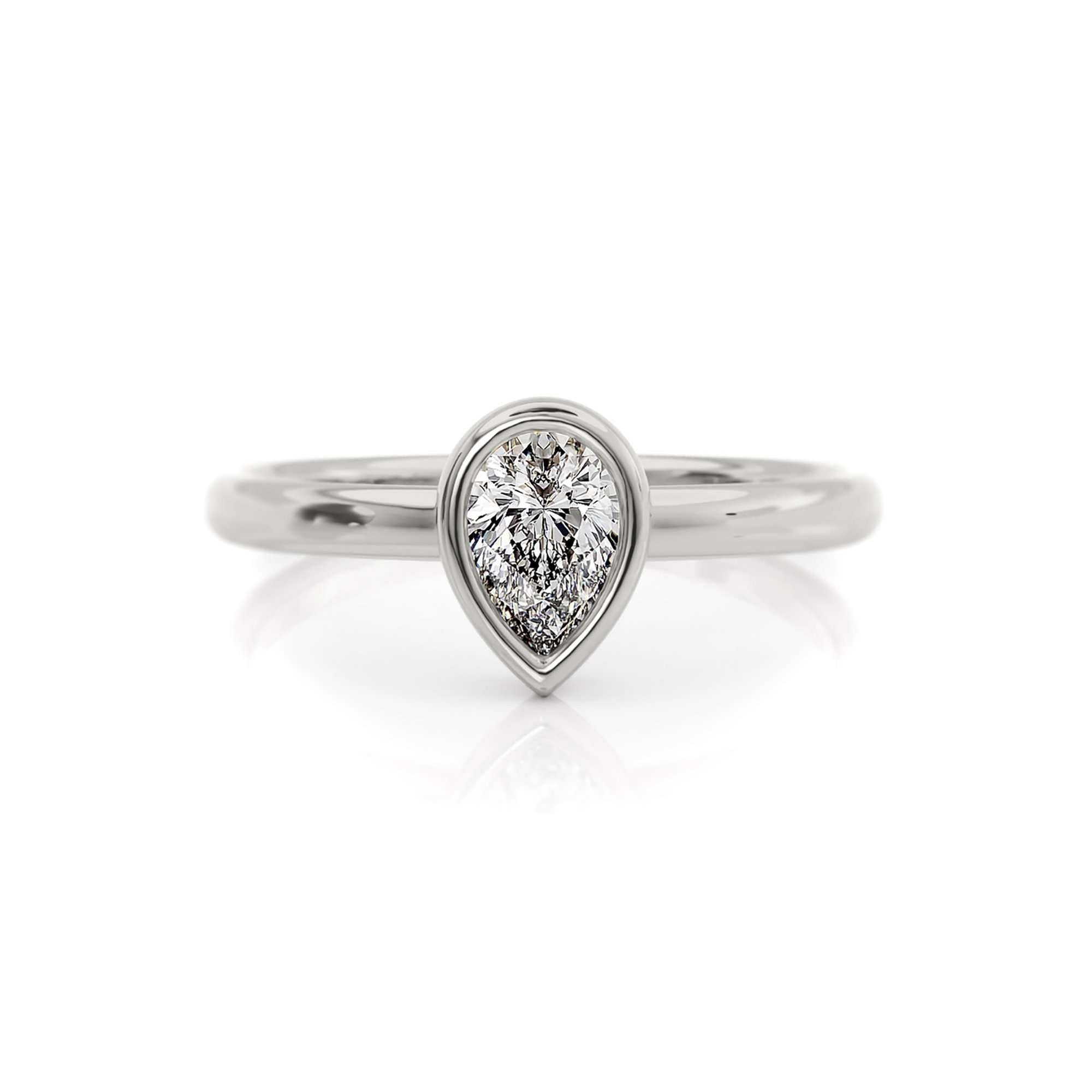Classic Bezel Pear | Diamond or Moissanite Solitaire Ring | Palladium White Gold