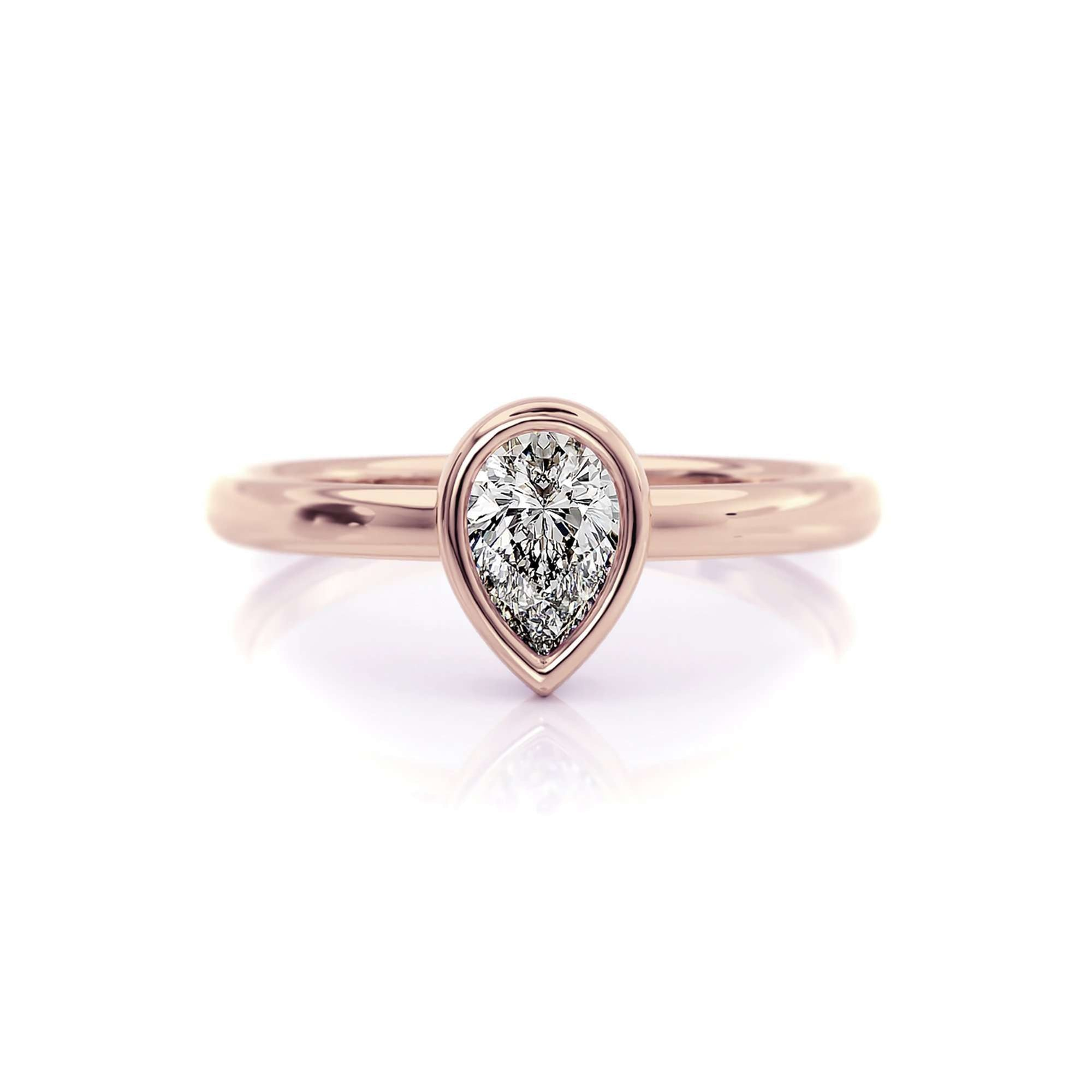 Classic Bezel Pear | Diamond or Moissanite Solitaire Ring-Alysha Whitfield