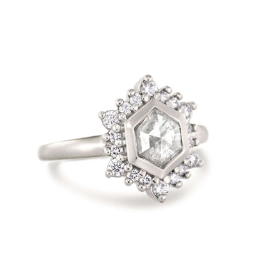 Camellia | Hexagon Rose Cut Ice Diamond | Halo Engagement Ring | 14k Palladium White Gold-Alysha Whitfield