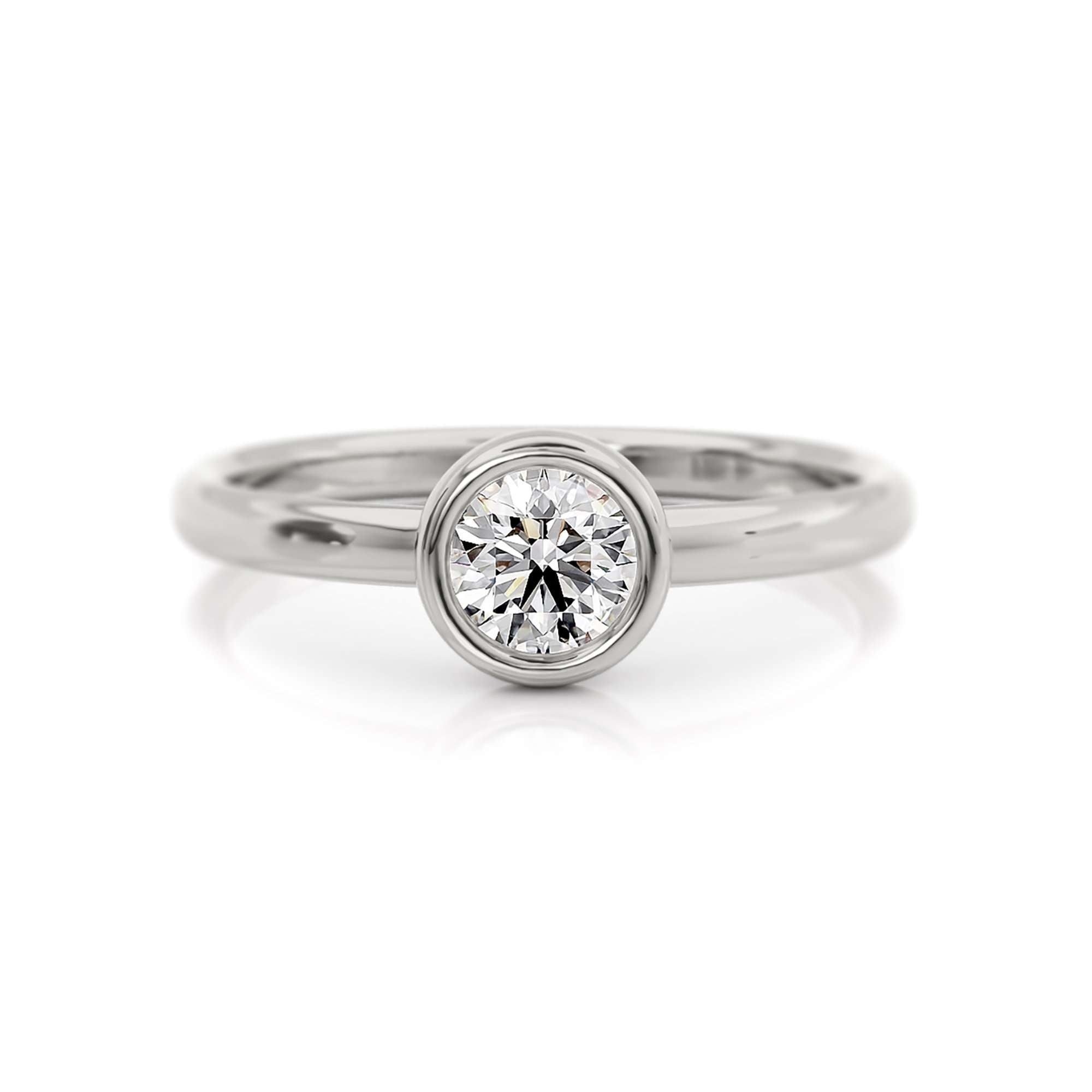 Classic Bezel Round | Diamond or Moissanite Solitaire Ring | Palladium White Gold