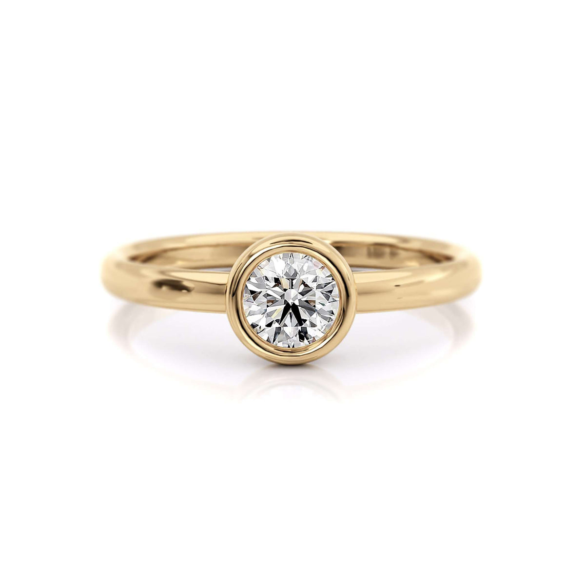 Classic Bezel Round with Marquise Diamond Nesting Band | Yellow Gold