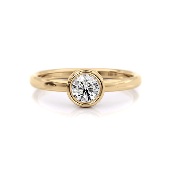 Classic Bezel Round | Diamond or Moissanite Solitaire Ring