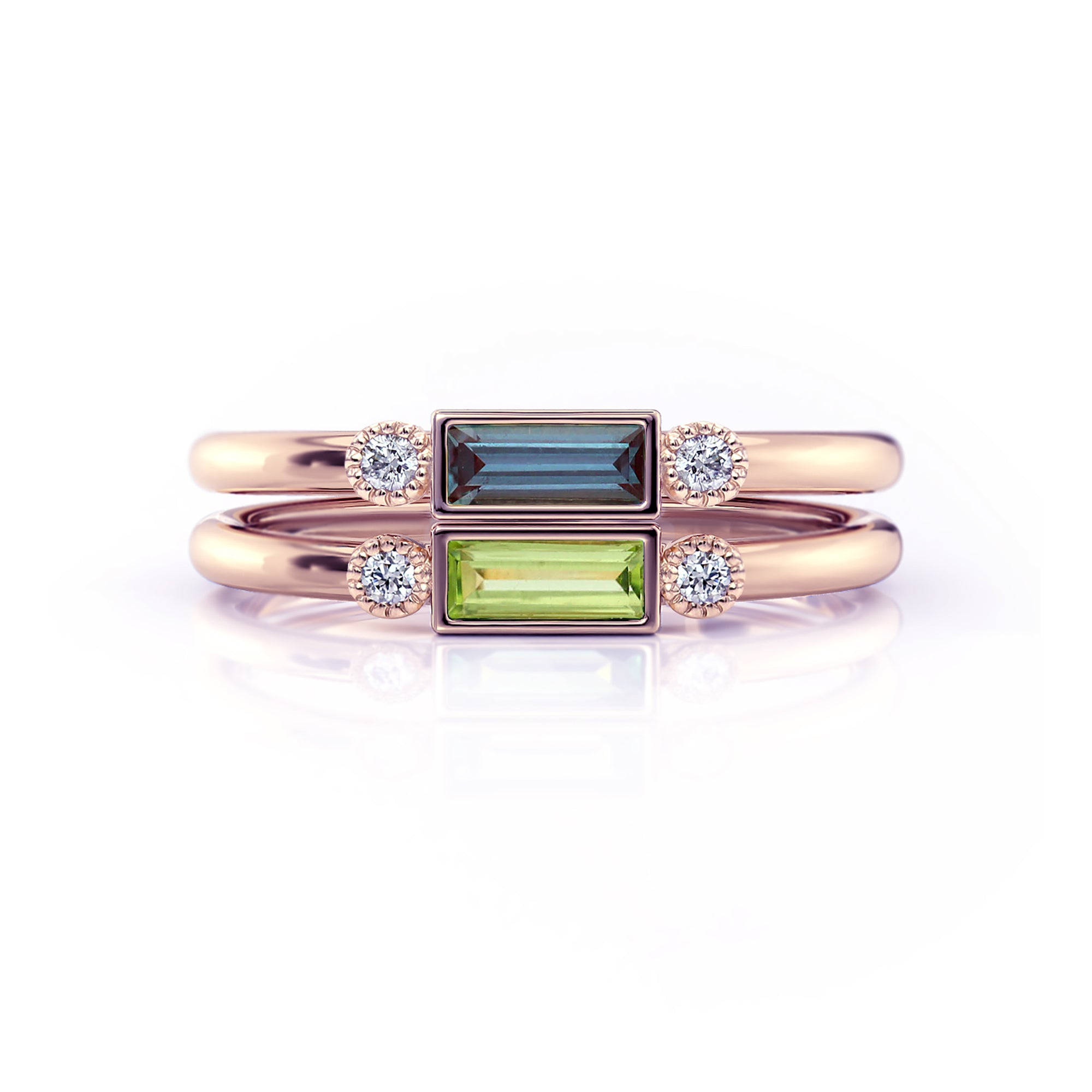 Baguette Birthstone Rings with Accent Diamonds | Rose Gold