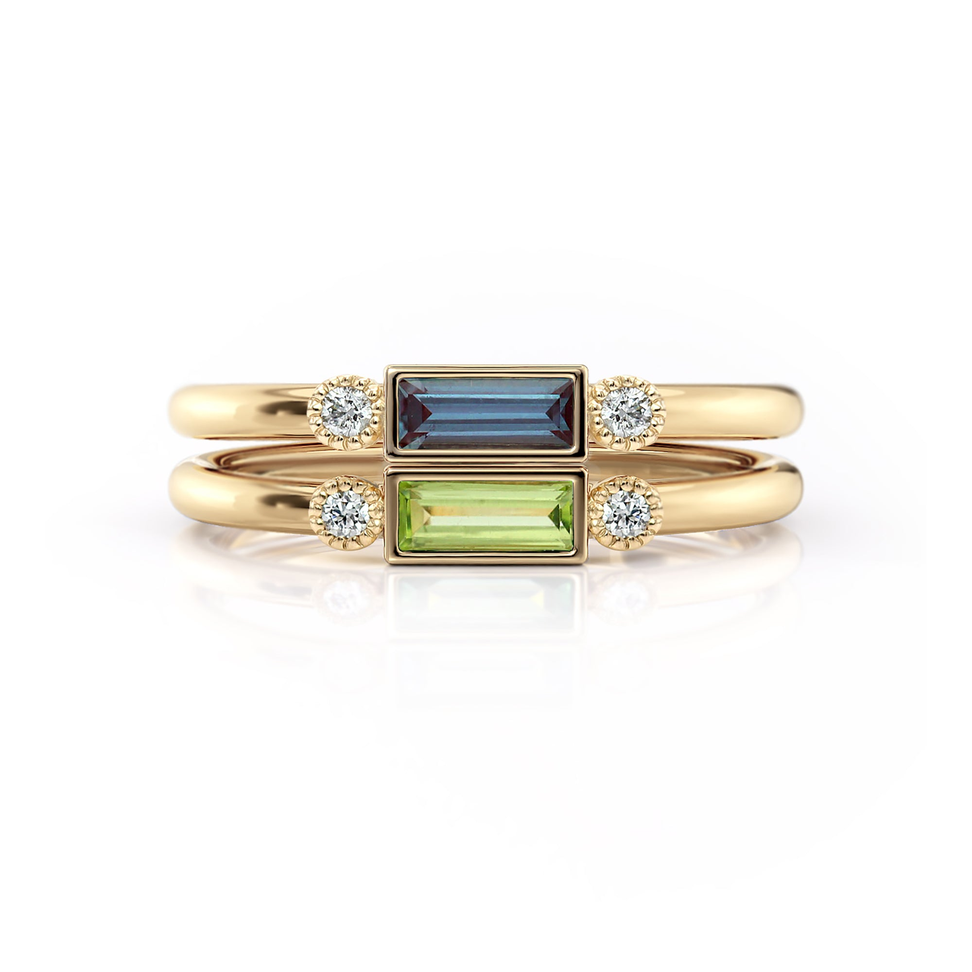 Baguette Birthstone Rings with Accent Diamonds | Yellow Gold