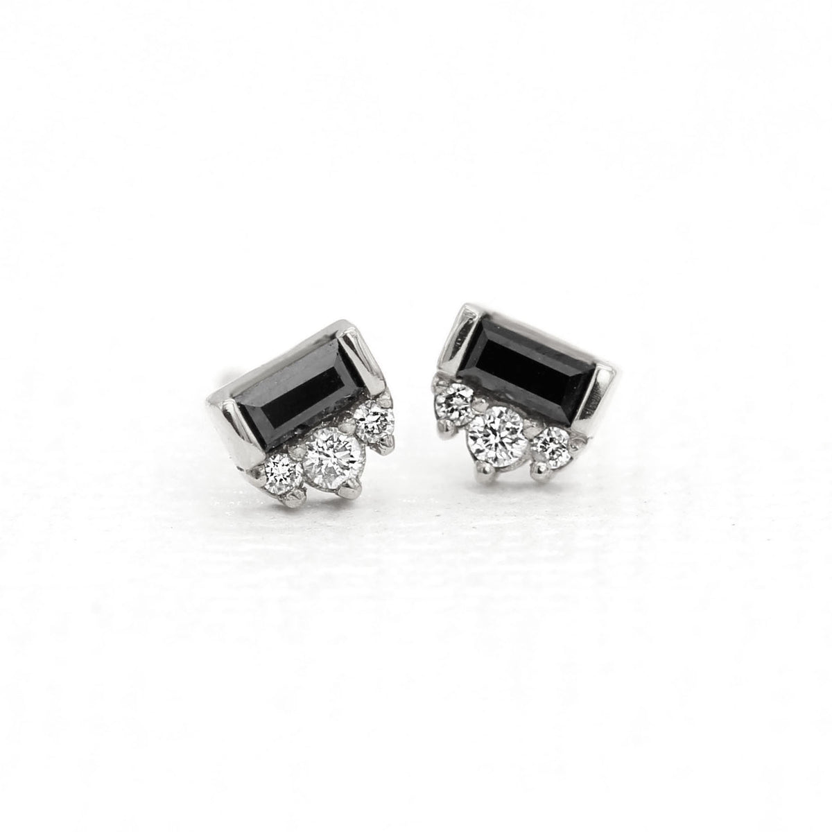 Black Tie Earrings - Baguette Black Diamond & White Diamonds - Palladium White Gold/Platinum