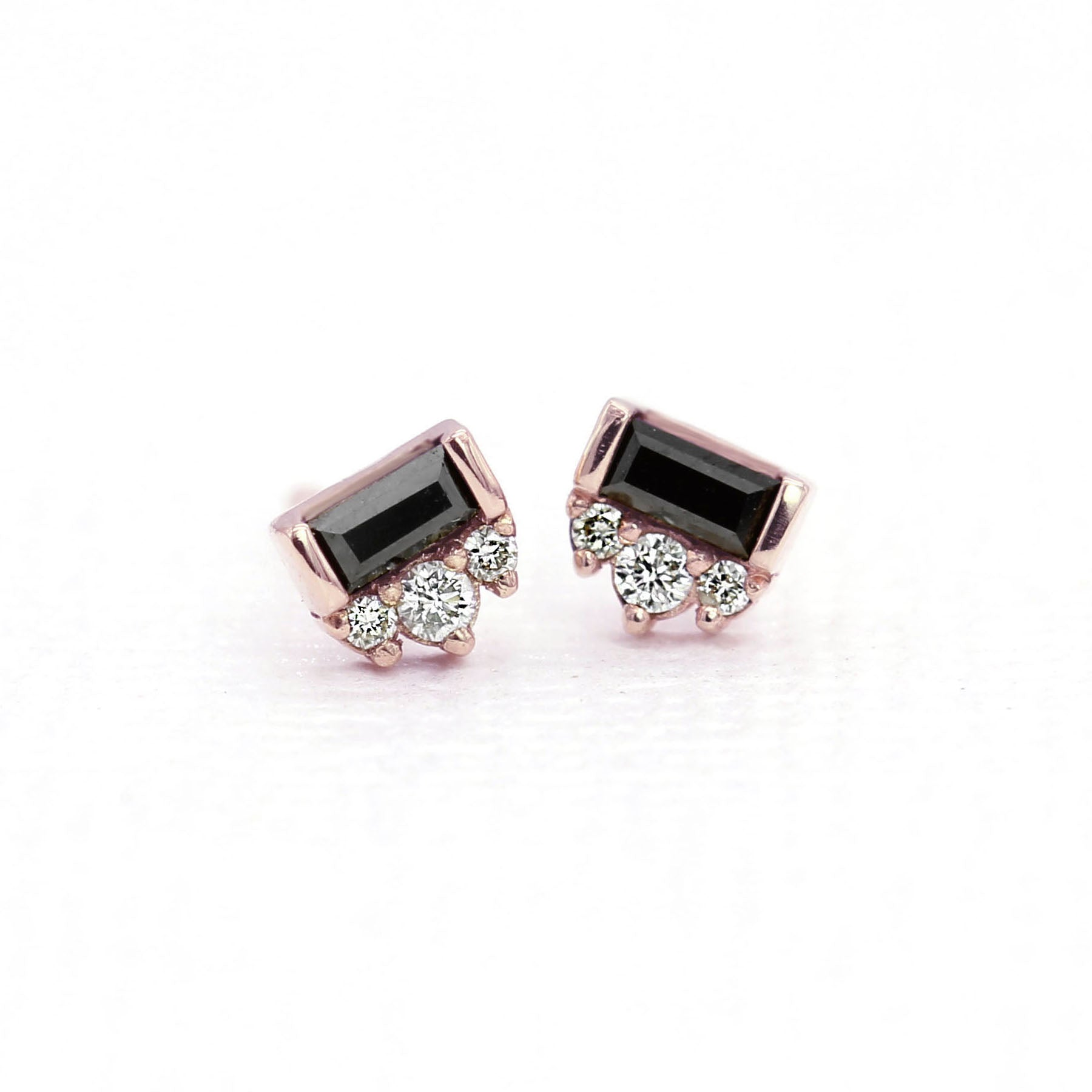 Black Tie Earrings - Baguette Black Diamond & White Diamonds - Rose Gold