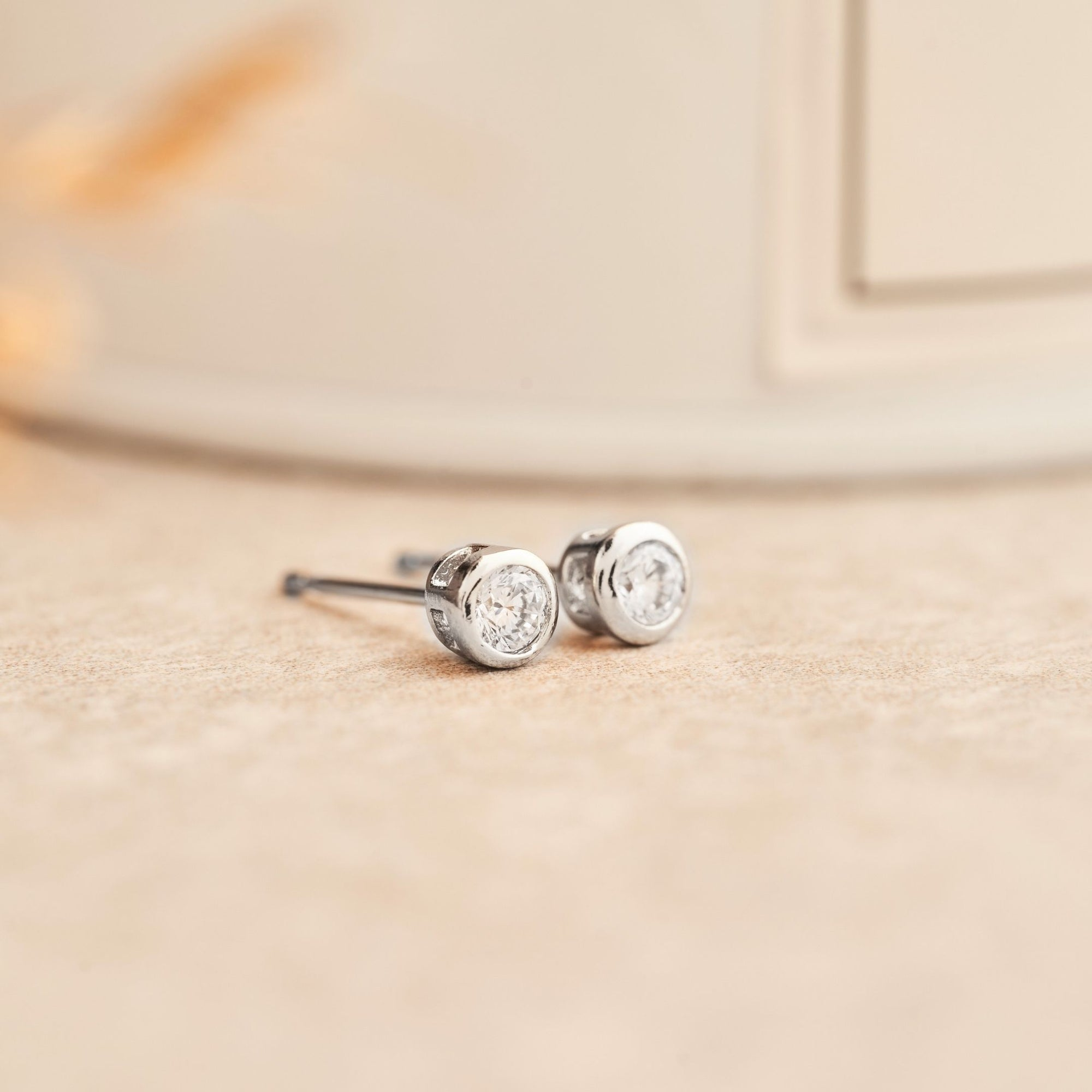 Classic Bezel Earrings | White Diamond Studs | Platinum