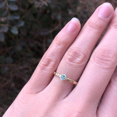 Round Birthstone Ring with Hammered Band-Alysha Whitfield