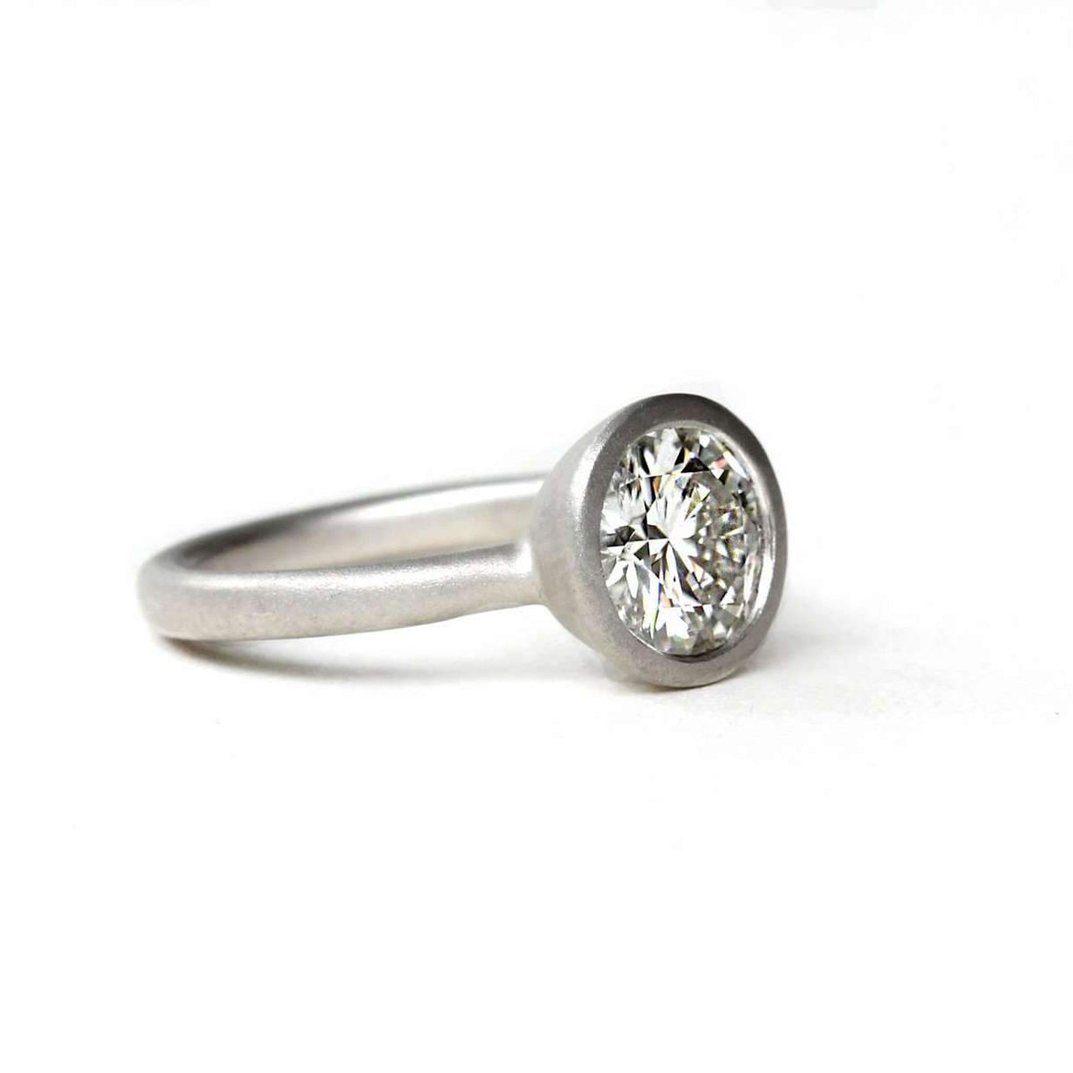 Low Profile Satin Forever One Moissanite Ring-Alysha Whitfield