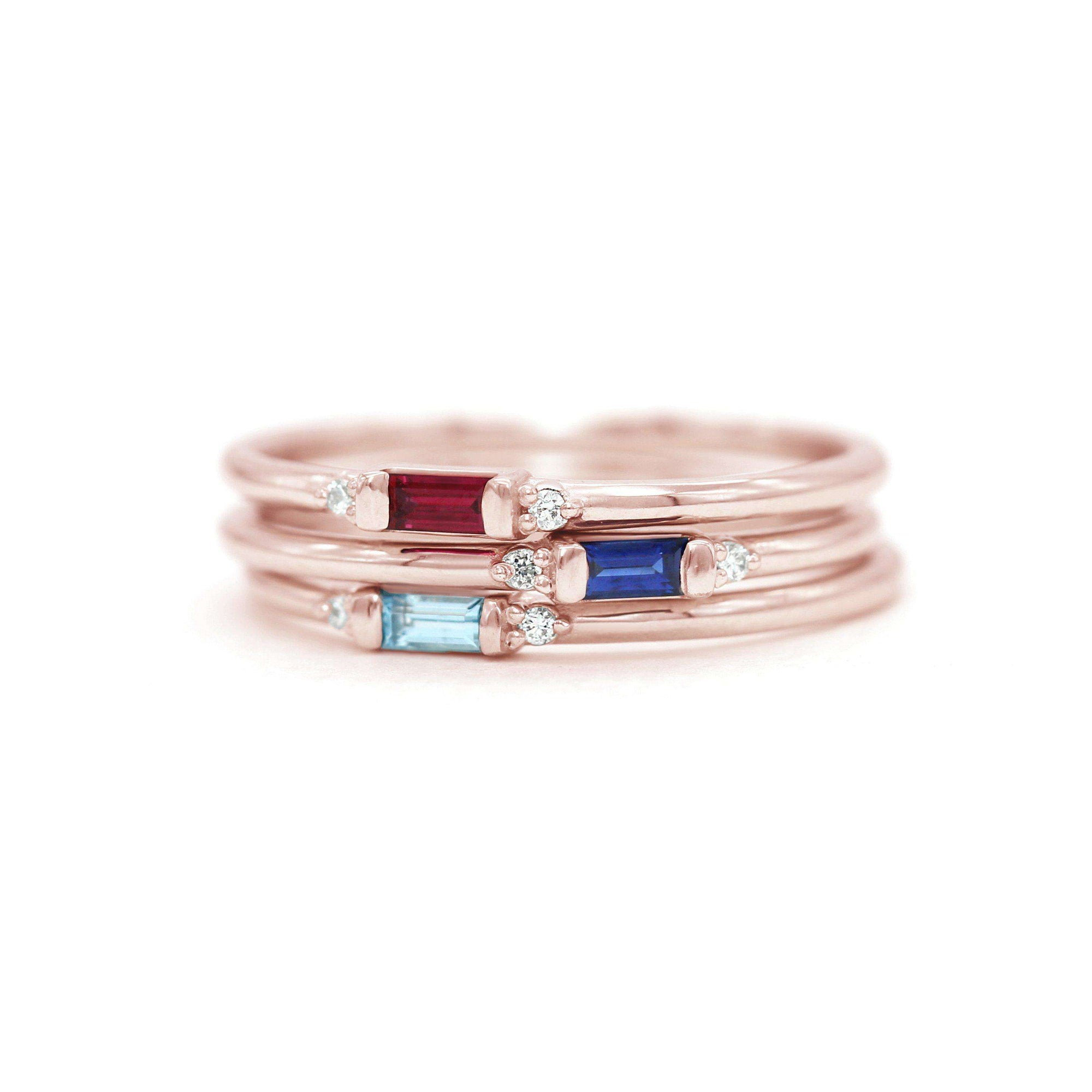 Petite Baguette Gemstone & Accent Diamond Stacking Ring Set | Rose Gold