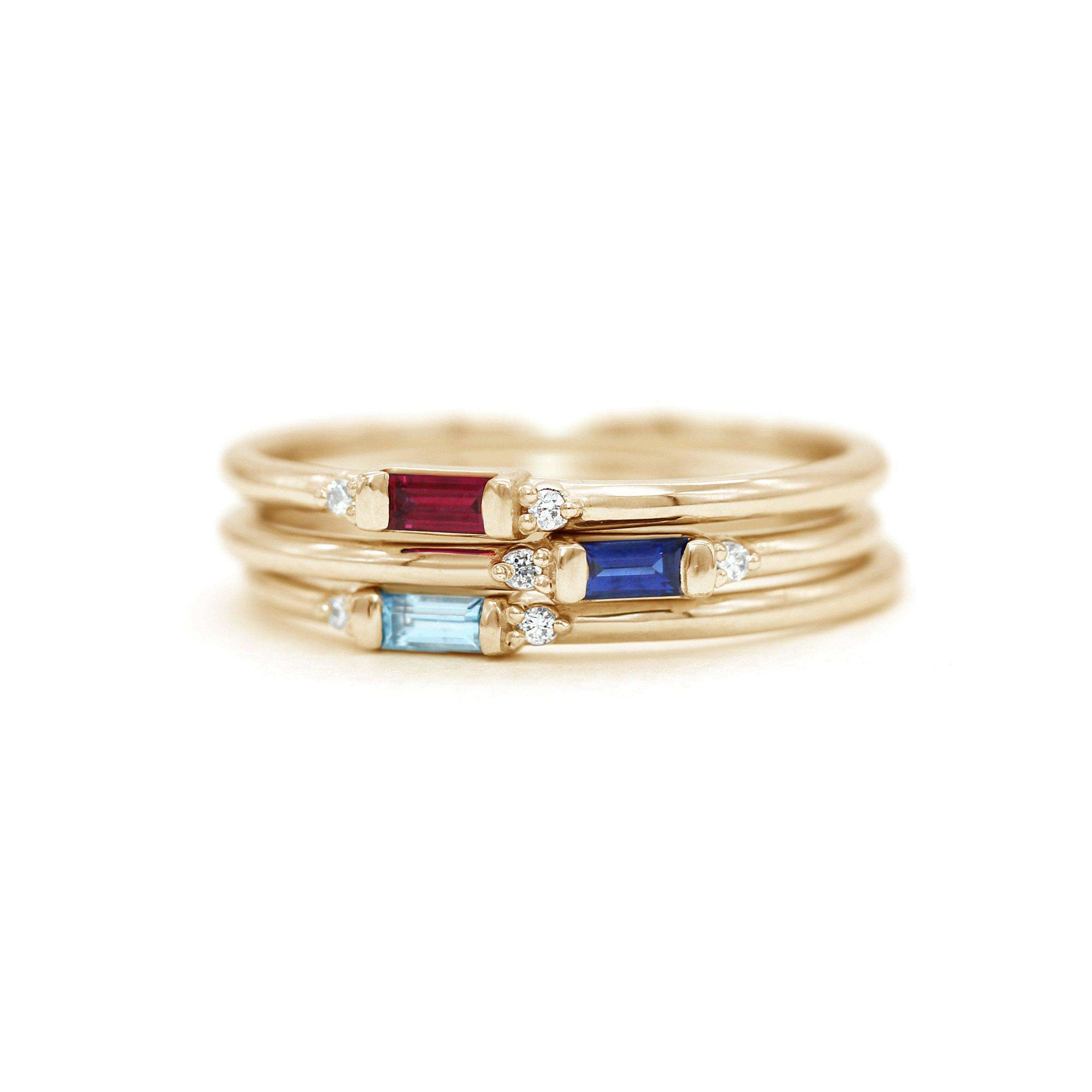 Petite Baguette Gemstone & Accent Diamond Stacking Ring | Yellow Gold