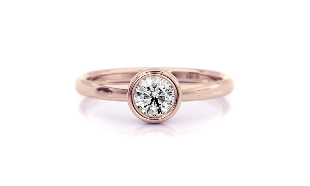 Classic Bezel Round with Marquise Diamond Nesting Band | Rose Gold