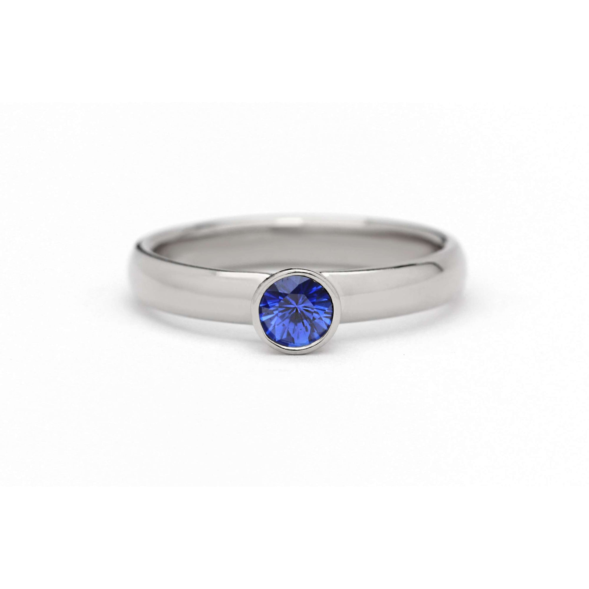 Natural Ceylon Blue Sapphire Ring | Palladium White Gold
