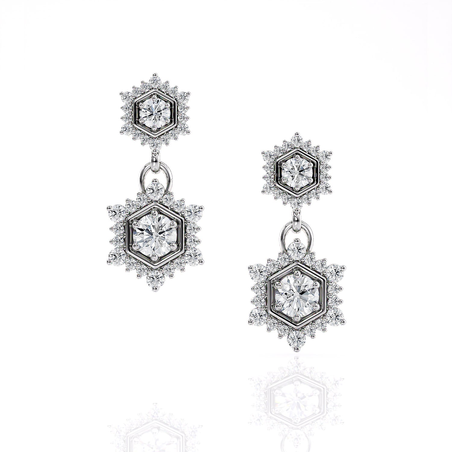 Camellia | Diamond Double Drop Hexagon Earrings
