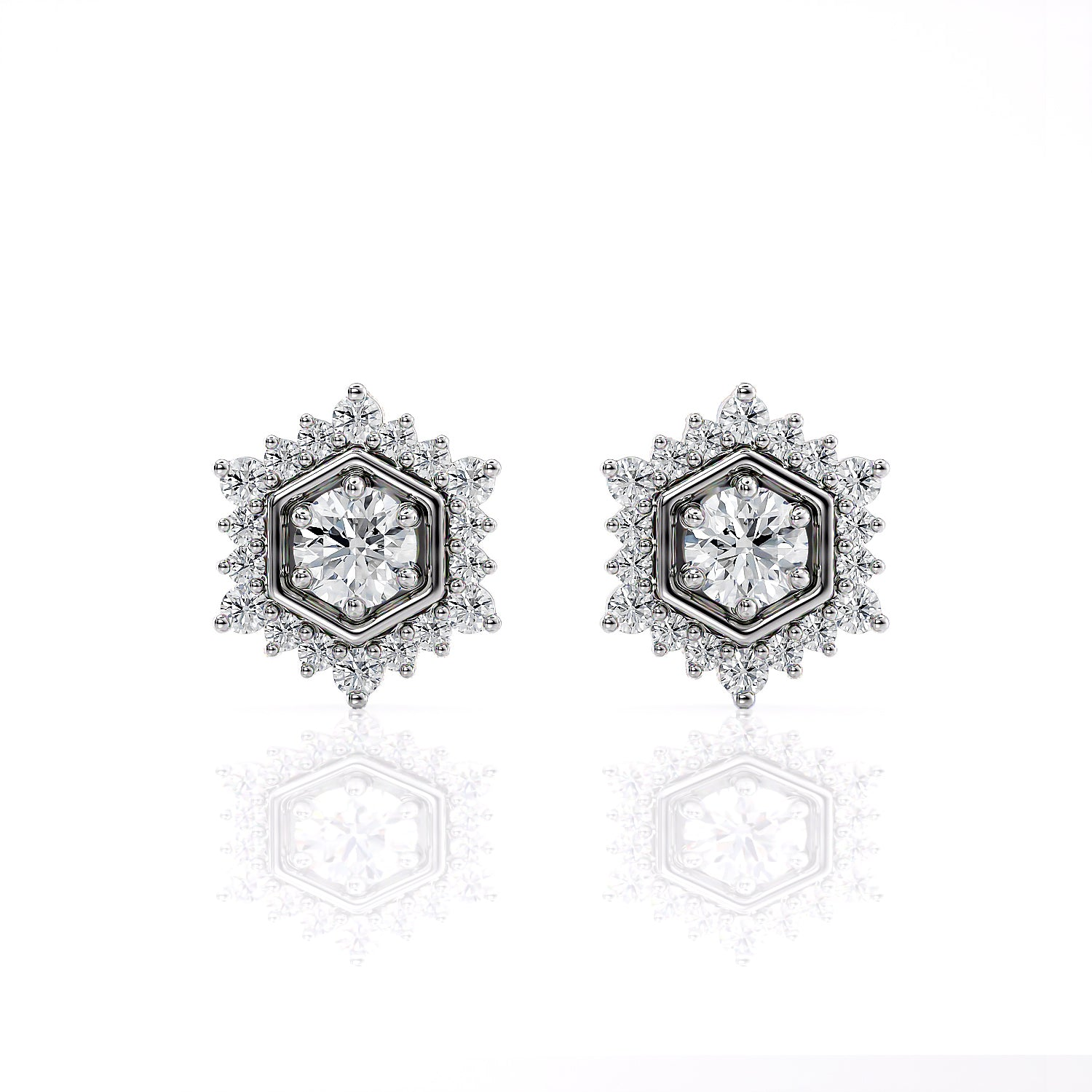 Camellia | Diamond Hexagon Post Earrings
