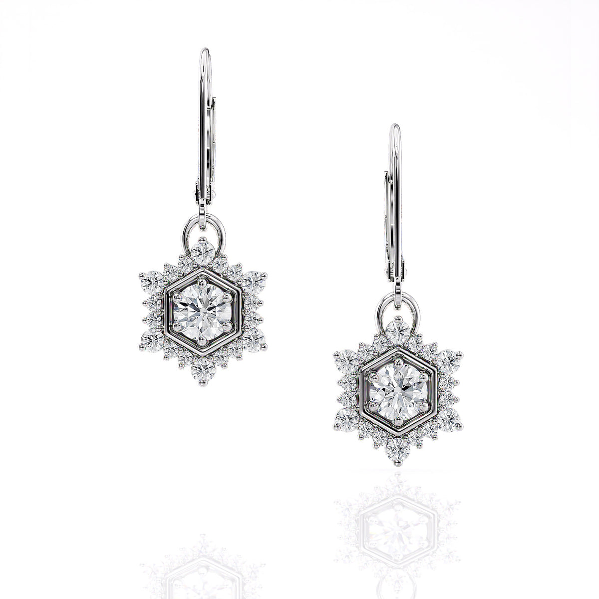 Camellia | Diamond Hexagon Single Drop Earrings