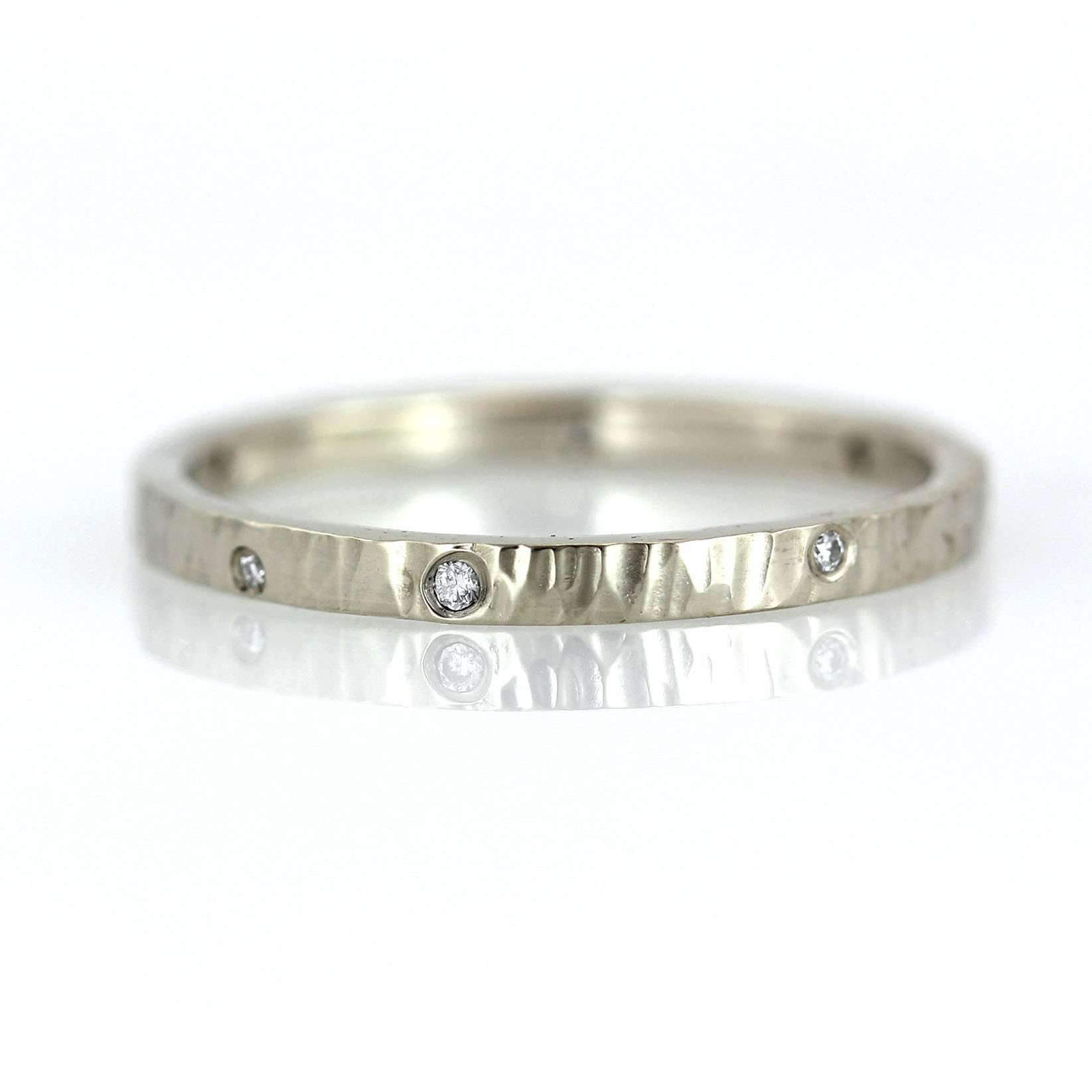 Organic Hammer Textured Diamond Ring Band-Alysha Whitfield