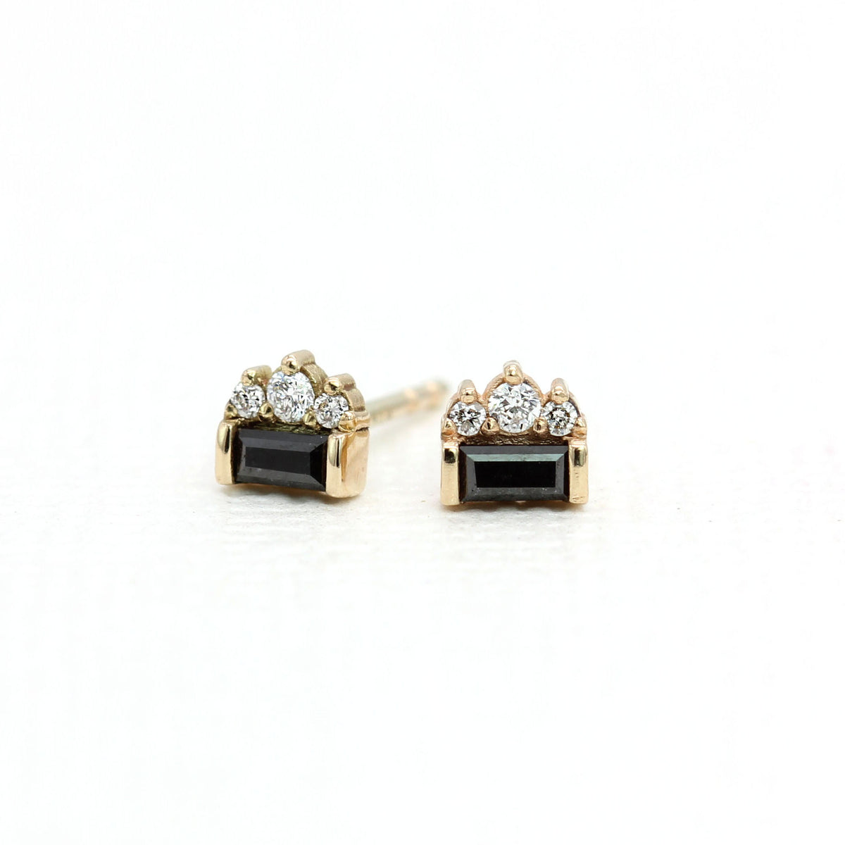 Black Tie Earrings - Baguette Black Diamond & White Diamonds - Yellow Gold