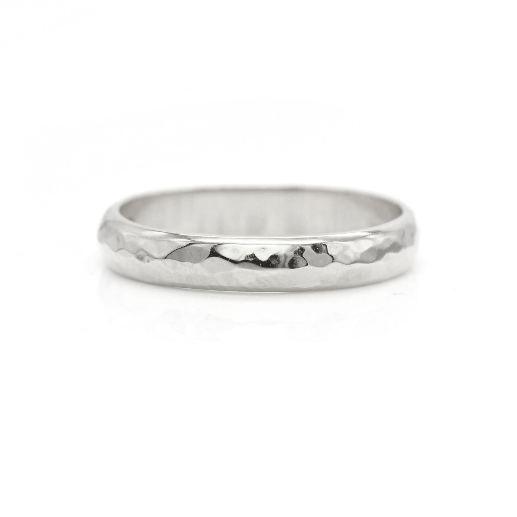 Hammered Ring Band - Palladium White Gold
