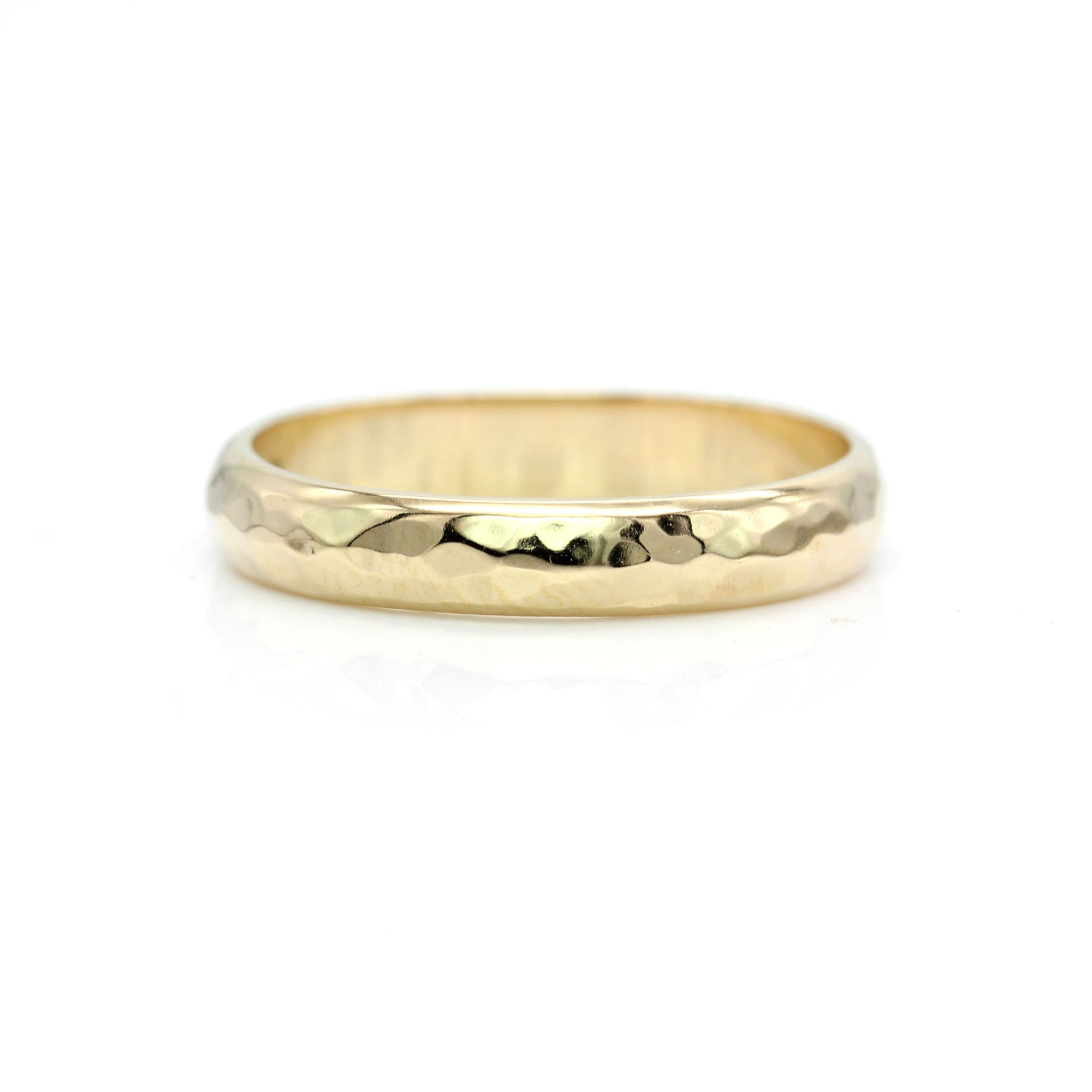 Hammered Ring Band - Yellow Gold