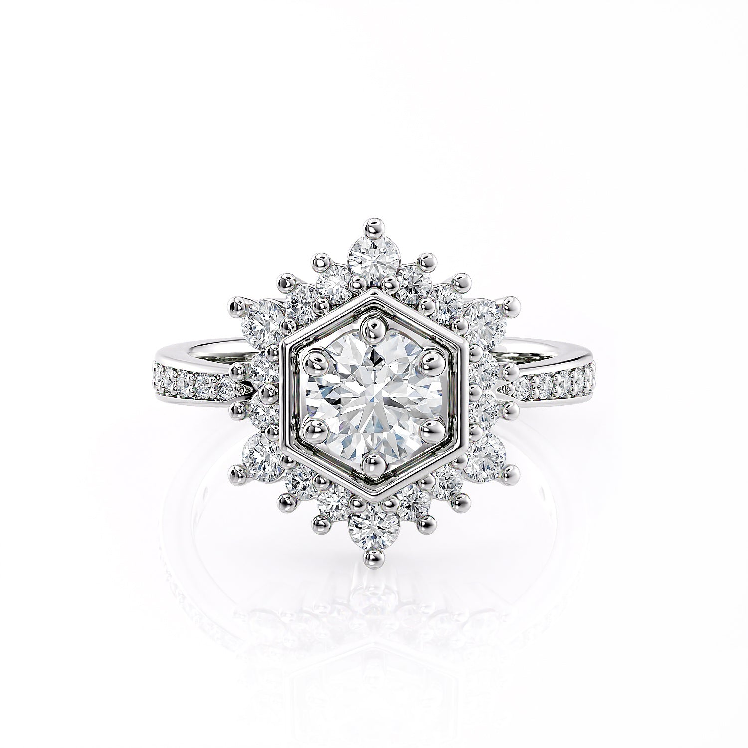 Camellia V.iii | Diamond Hexagon Halo Engagement Ring