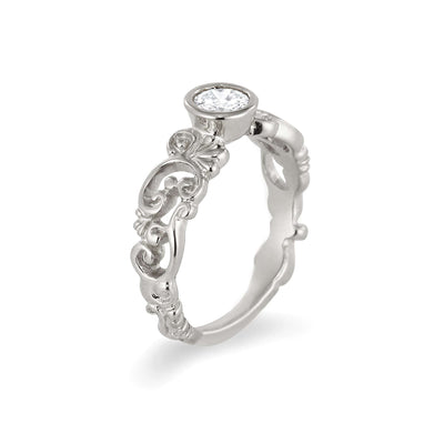 Filigree Engagement Ring with Diamond or Moissanite | Palladium White Gold