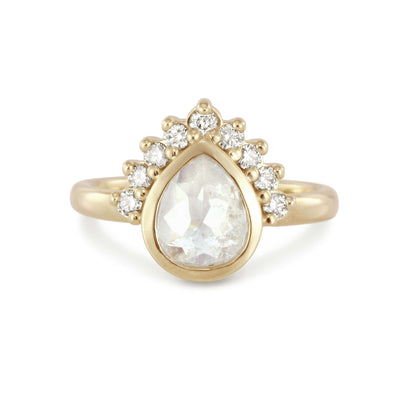 Jasmine | Pear Rose Cut Ice Diamond | Halo Engagement Ring | 14k Yellow Gold-Alysha Whitfield