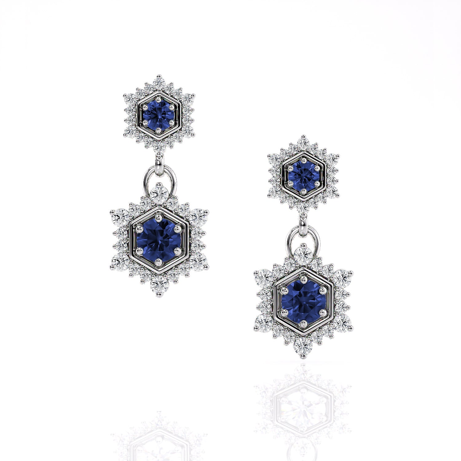 Camellia | Ceylon Blue Sapphire Double Drop Hexagon Earrings