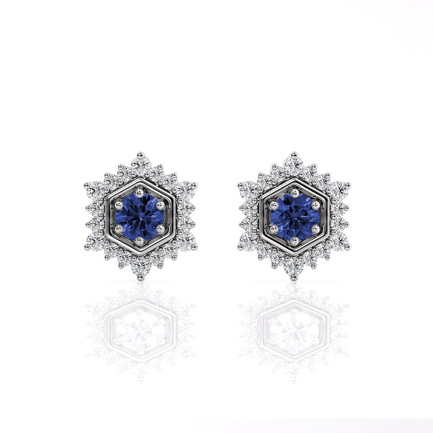 Camellia | Ceylon Blue Sapphire Hexagon Post Earrings